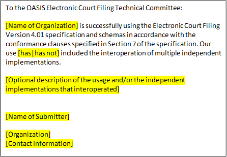 compliance statement template - fw ecf compliance statement